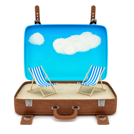 render of an open retro suitcase with 2 deckchairs, isolated on white  photo