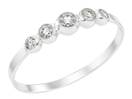 render of a ring with diamonds, isolated on white  photo