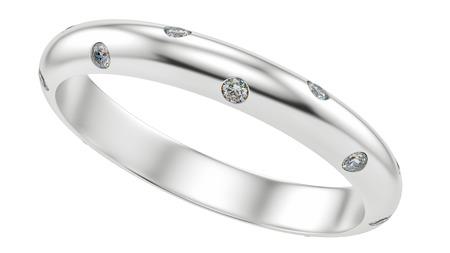 bodas de plata: rinde de un anillo de diamantes, aislado en blanco