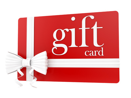 white card: render of a gift card, isolated on white
