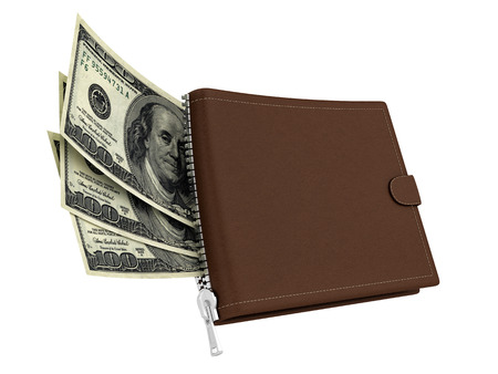 render of a brown leather wallet with dollars, isolated on white  Stock Photo