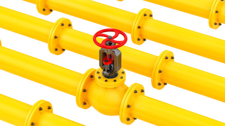 render of yellow pipes with a red valve, isolated on white  Stock Photo