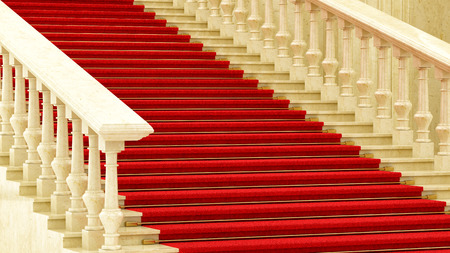 handrail: render of a red carpet on stairs