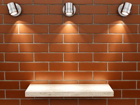 render of an empty shelf on a brick wall