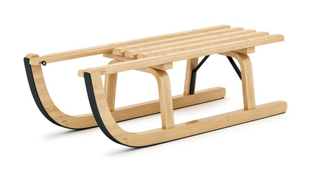 toboggan: render of a sledge, isolated o white
