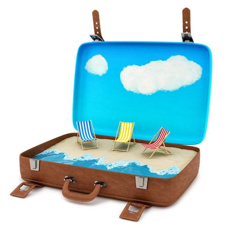 render de una maleta retro abierto con una playa, aislado en blanco