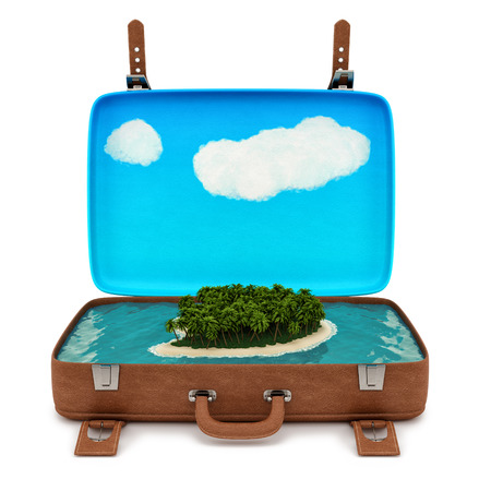 render of an open retro suitcase with a small island, isolated on white