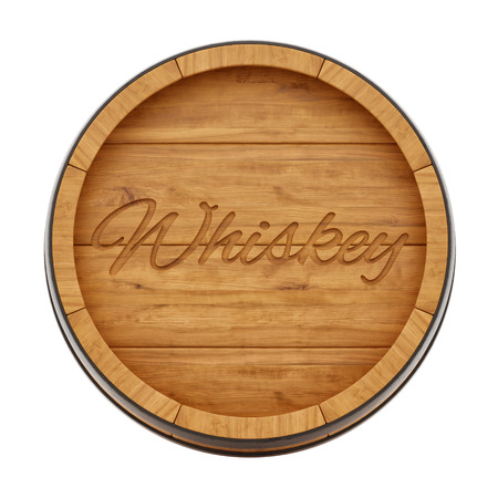 oak barrel: render of a whiskey barrel from top view, isolated on white