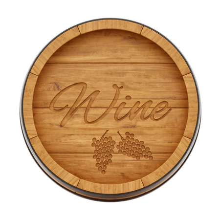 平面図、白で隔離からワイン樽のレンダリング