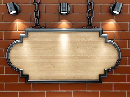 render de un cartel de madera en una pared de ladrillo