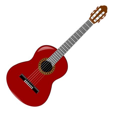 nylon string: Classical or nylon string guitar illustration on white background. Stock Photo