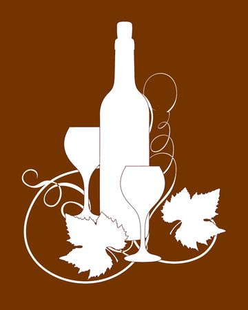 Wine bottle and glasses silhouette with grape leaves Stock Photo