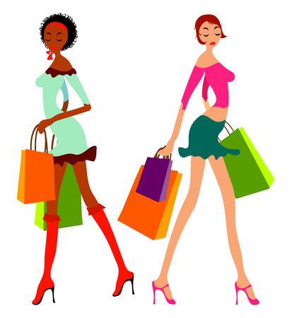 Winkelen vrouwen Vector Illustratie