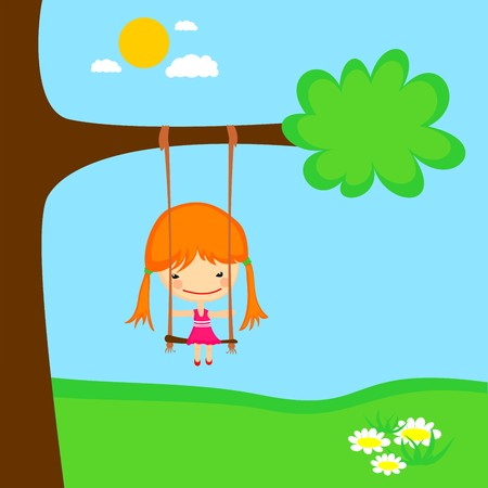 clouds: garden: Cartoon girl swinging