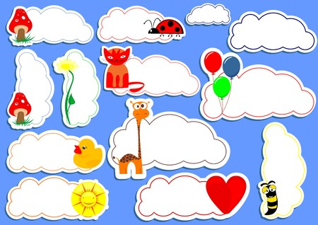 Happy sticker vector set Vector