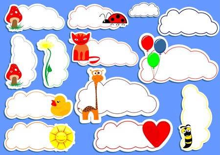 sticker vector: Happy sticker vector set Illustration