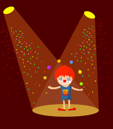 Cartoon clown juggling in the spotlight Vector