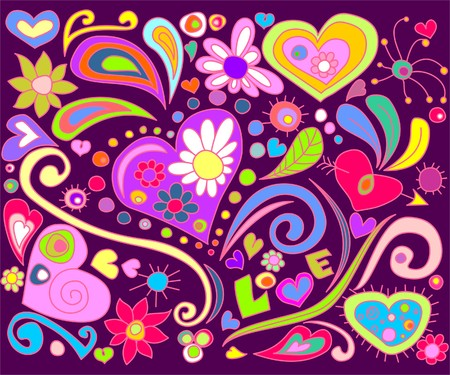 abstract flowers: Colorful love doodle