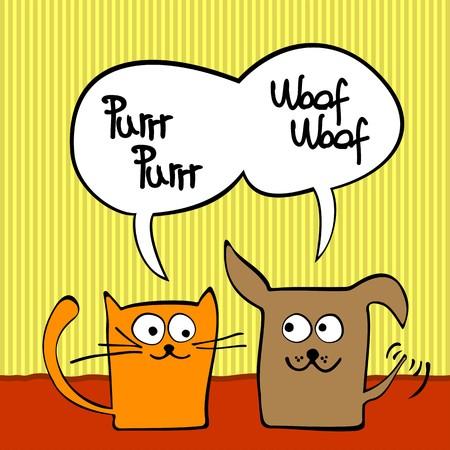 happy cat: Cartoon-Katze und Hund mit Sprechblase.  Illustration
