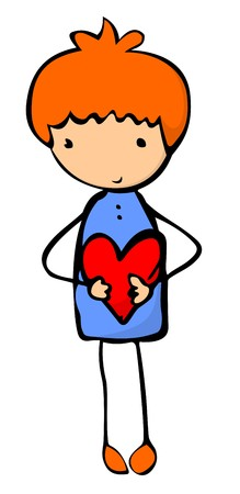 Shy cartoon boy holding a heart in his hands
