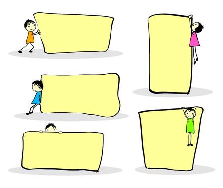 Niños de dibujos animados lindo jugar de notas, con espacio para el texto