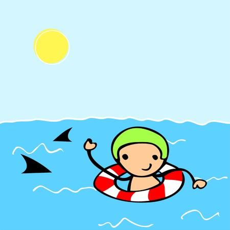 Cute cartoon kid swimming with swim ring. Vector