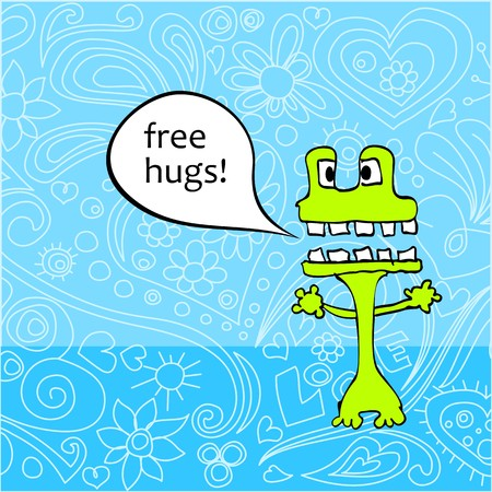 Cute monster offering free hugs Vector