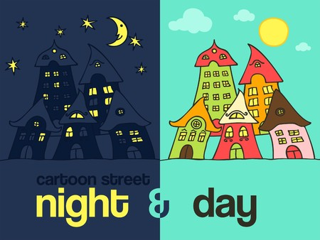 Cartoon street night & day Stock Vector - 6959718