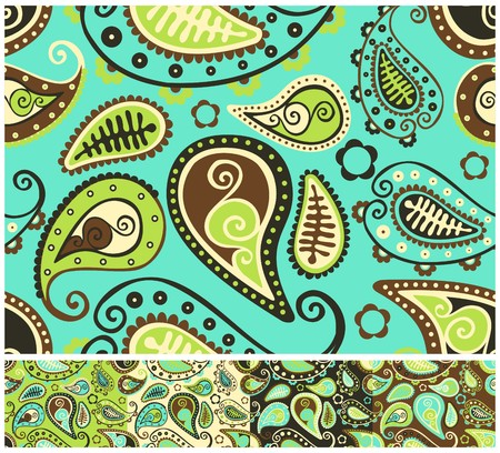 Seamless paisley, different color versions Vector