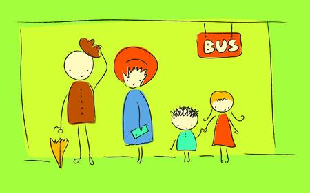 Bus stop doodle Vector