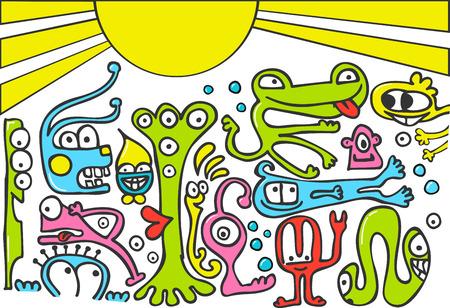 Funny creatures doodle  Stock Vector - 7502854