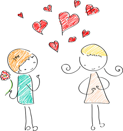 Cute couple in love Vector
