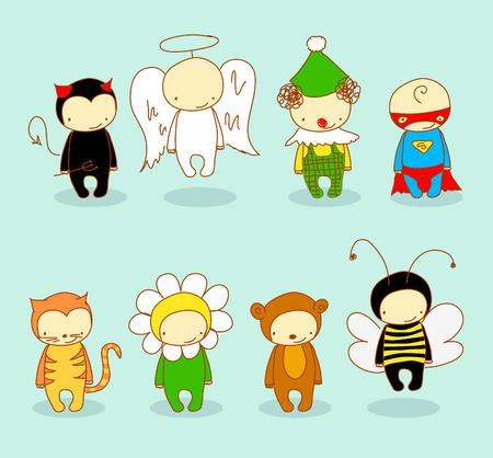 Cute kids in costume  Vector