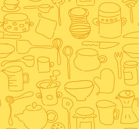 vintage dishware: Seamless kitchen utensils doodle