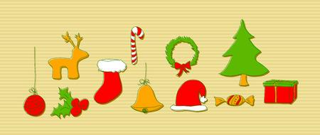 Christmas doodle elements Vector