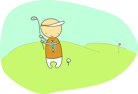 Golf player doodle Vector