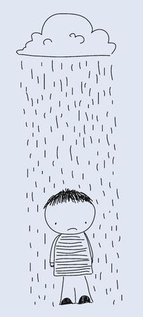 hard rain: boy in the rain