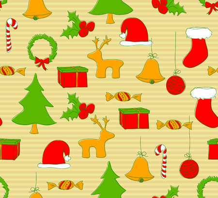 Crhristmas seamless doodle Vector