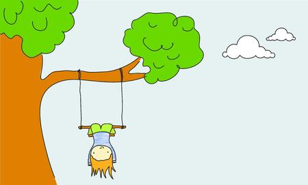 Kid swinging  Ilustración de vector