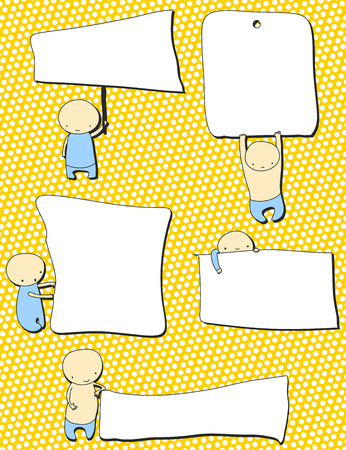 cute kids with blank notes  Stock Vector - 8277340