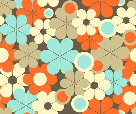 Retro patrón transparente floral