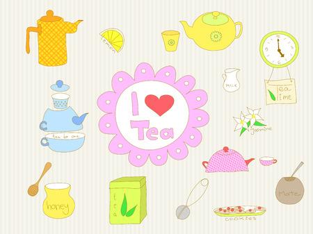 I love tea doodle Vector