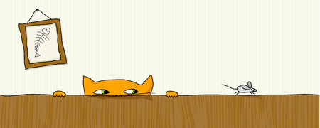 cat hunting mouse Vector