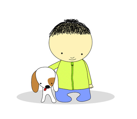 kid with his dog Stock Vector - 8432803