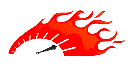 meter: stylized speedometer on fire