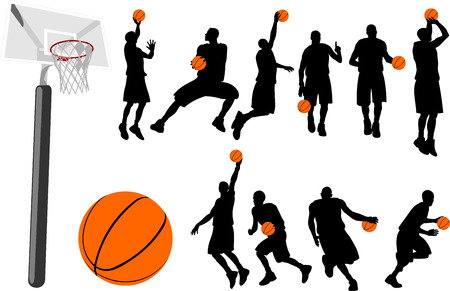 throwing ball: Basketball players silhouette with backboard and ball.  Illustration
