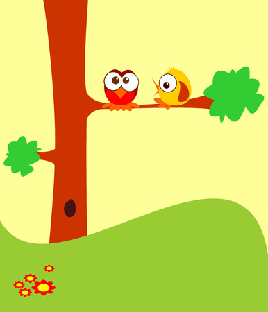 cartoon birds: Two cartoon birds on a tree.