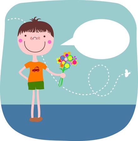 Boy cartoon con fiori e una nuvoletta con spazio per il testo.