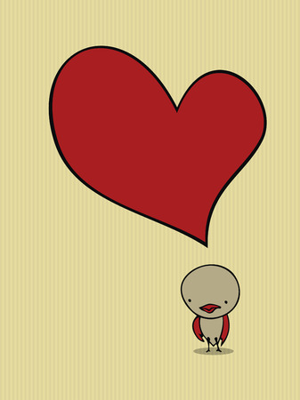 heart drawing: Cute bird card
