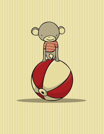 cute monkey card Illustration